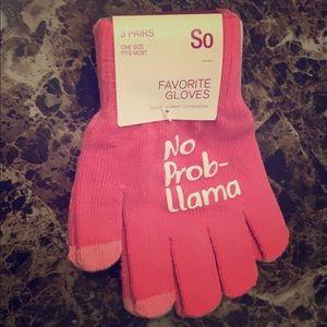 NWT SO No Prob-Llama Gloves